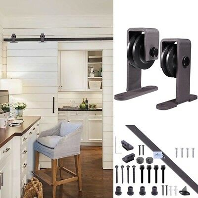 1.83m Sliding Barn Door Hardware Set Track Interior Closet No Joint Dark Coffee