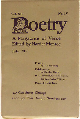 Poetry Magazine Vol XII No. IV July 1918, Beat Artist Collection
