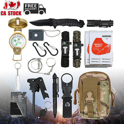 18X Outdoor Emergency Survival Tool First Aid Gear Kit Hiking Camping Set CA NEW
