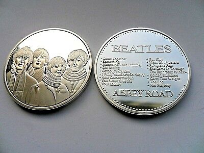The Beatles Group Image  ABBEY ROAD Silver Plated Coin . Boxed