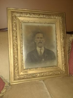 Large 19th Century Antique Man Photograph Ornate Wood Frame, Solid Wood, Glass
