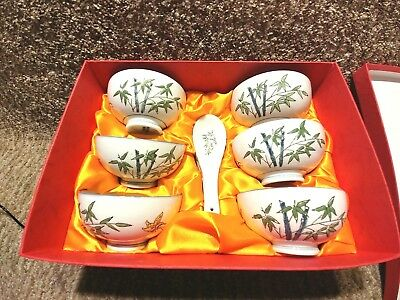 NEW IN BOX  SET OF 6 RICE BOWLS and Spoons beautiful hand painted