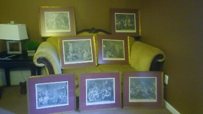 William Hogarth Framed Sketches, Lot of 7, Antique, Marriage A La Mode and more