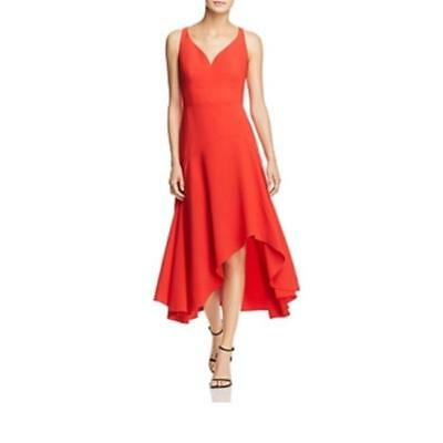 $428 elie tahari Red Susie Sweetheart Asymmetric Cocktail Dress