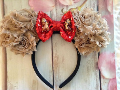 Chip and Dale Couture Minnie Mouse ears headband- Disney World- Disneyland- new