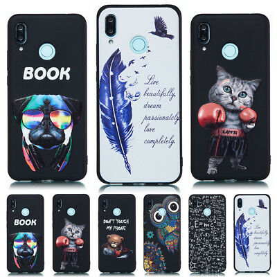 For Huawei P Smart 2019/Y6 Y7 Pro Y9 2019 Painting Soft Gel TPU Back Case Cover