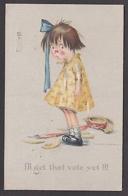 """Postcard Suffragette Comic girl in tatters """"I'll get that vote yet !!!"""" 1916"""