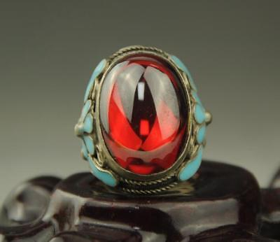 Collectible Chinese Inlay red Jade Old Tibet Silver Cloisonne Flower Ring