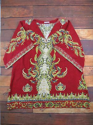VINTAGE Daskiki Red Kaftan Patterned Top - African - Hippy Size Large