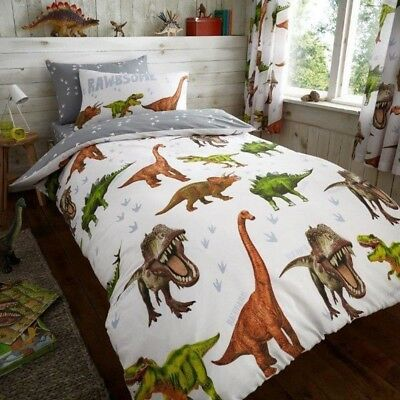 Dinosaur Duvet Cover Set T-Rex Kids Boys Single Bed Quilt Bedding Set White Grey