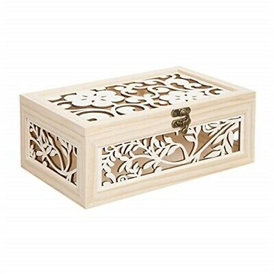 "Wood Box W/laser Cut Flower Pattern-10.5""x6.5""x4.25"""