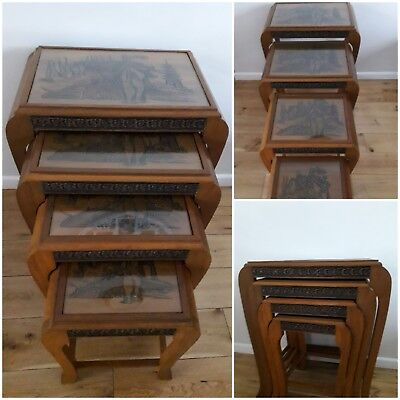 Antique Chinese Carved Nest of Tables with Glass Inserts