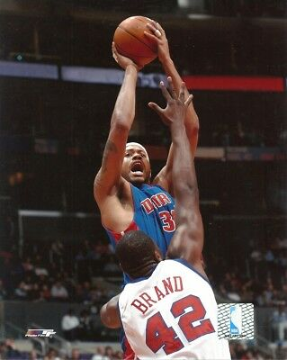 RASHEED WALLACE 8x10 NBA ACTION PHOTO vs Elton Brand DETROIT PISTONS (Photofile)
