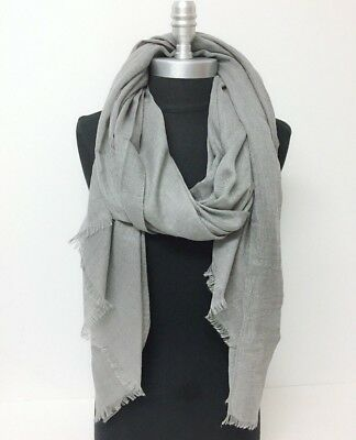 Men Women Long Scarf Gray Solid with frayed edge Soft Shawl Wrap Pashmina Silky