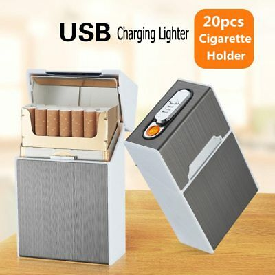 Ciagrette Holder Box with Removable USB Electronic Lighter Flameless Windproof