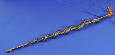 ASKLEPIOS (Asclepius) 19th c. antique Walking Stick / cane with Carved snake