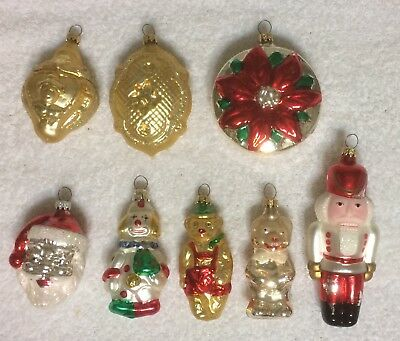 8 Blown Glass Christmas Ornaments fr West / Germany Clown Bears Santa Nutcracker