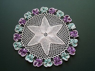 Vintage Hand Crochet Doily With Pansy Flowers