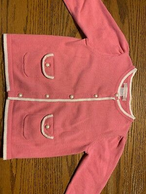 Janie And Jack Toddler Girls Size 18-24 Months Pink, White Cardigan Sweater