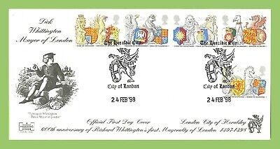 G.B. 1998 Queens Beasts set on Havering official First Day Cover, City of London