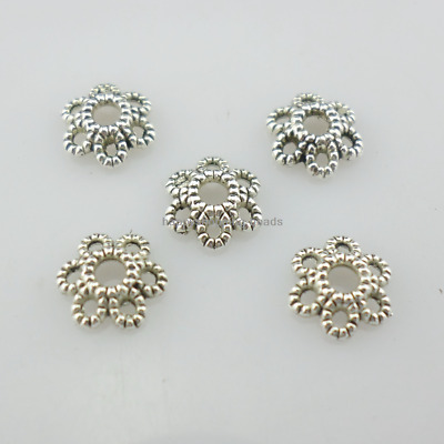 80pcs Tibetan Silver Hollow Small Flower Loose Spacer Bead Caps 6mm