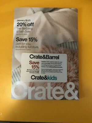 One coupon for Crate and Barrel 15% off entire purchase - sent fast - exp. 03-19