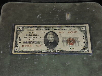 1929 United States 20-Dollar National Currency Note - Alexander City, AL