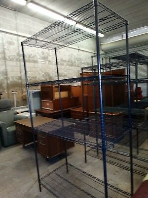 """Lot#0116-1: One 86"""" Tall Metal Wire Kitchen Rack, Shelving Unit - Used"""