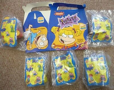 """New Burger King Kids Club Nickelodean """"rugrats"""" 5 Toys & Card Food Carry Box"""