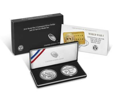 World War I Centennial 2018 Silver Dollar and Air Service Medal Set with OGP