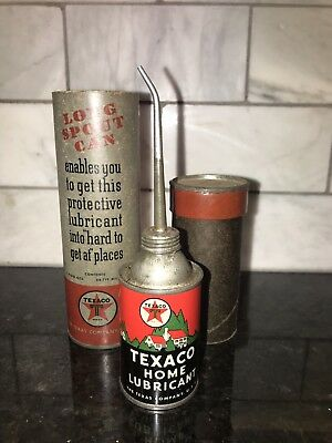Vintage Original Texaco Home Lubricant Oil Can With Original Case No~Reserve