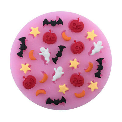 halloween pumpkin bat moon star polymer clay mold fondant mold flexible diy Tu