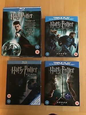 Harry Potter Blu Ray Discs Complete set of the 8 films.