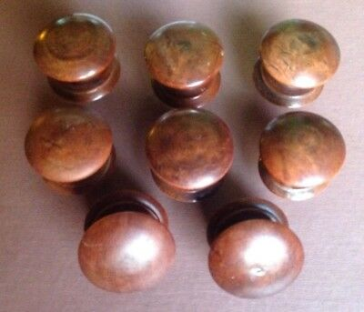 8 x Mahogany Coloured Antique/Vintage Wooden Drawer Knobs