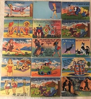 Lot of 44 Vintage Humorous Risqué Travel Postcards Various Makers 1930-60s Era