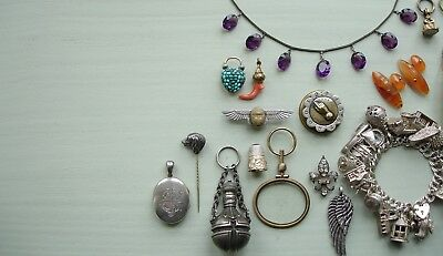 Beautiful Large Victorian Or Edwardian Silver & Paste Stones Pendant (A2)