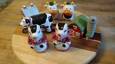 Vintage Porcelain Ceramic Salt and Pepper Shakers Cows Aprons  barn farm