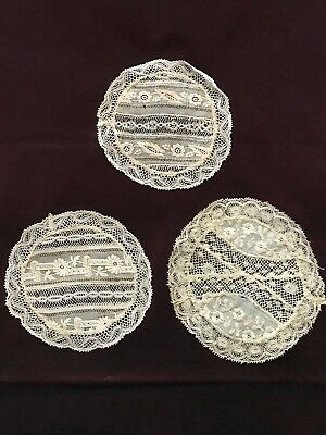 3 French EDWARDIAN NORMANDY LACE FOND DE BONNET used as small DOILIES