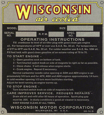 Wisconsin Engine Specificaton Plate