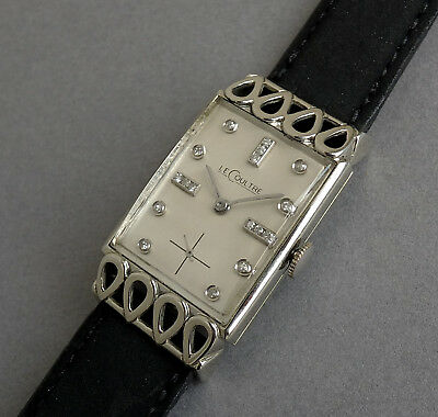 JAEGER LECOULTRE 18K Solid White Gold Art Deco Gents Vintage Watch 1948 STUNNING