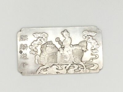 Chinese Dragon-Horse Carrying A Child Longma Mythical Beast, White Metal Ingot