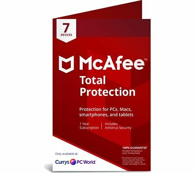 MCAFEE Total Protection 2019 - 1 year for 7 devices - Currys
