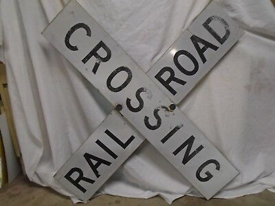 "Railroad Crossing Crossbuck Sign~2 Piece 48"" X 9"" Each~Heavy Aluminum Retired"