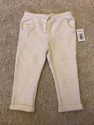 Girls Cream Sparkly Comfy Joggers Style Trousers Age 18-23 Months