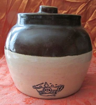 Vintage Stoneware Bean Pot Blue Crown RRP Crock Lid Handle Robinson Ransbottom