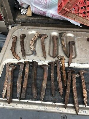 One Lot Of 19 Bent Railroad  spikes, Solid Heavy Metal Crafts Welding