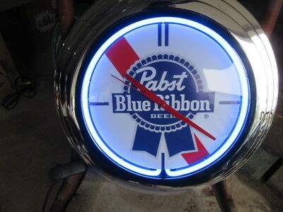 New Pabst Blue Ribbon Neon Clock Beer Sign Light Up In Box Bar Rec Room Mancave