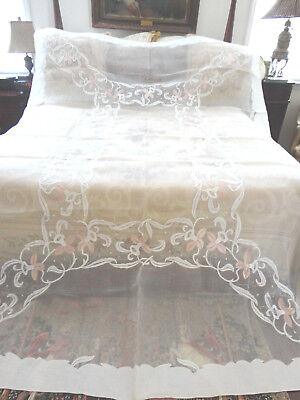 ANT MADREIRA ORGANDY APPLIQUED TABLECLOTH &  12 NAPKINS -SATIN JONQUILS 72x108