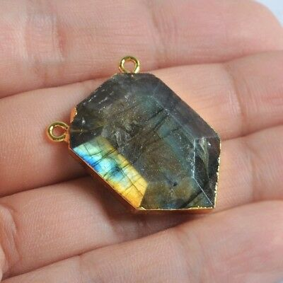 Natural Labradorite Faceted Connector Gold Plated B076277