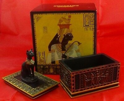 Egyptian Collection Cat Jewelry Trinket Box Sarcophagus Statue Figurine Decor